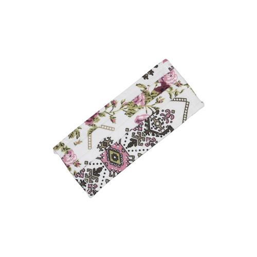 Μάσκα με φίλτρο και διπλό ύφασμα,λευκή με τριαντάφυλλα ρόζ