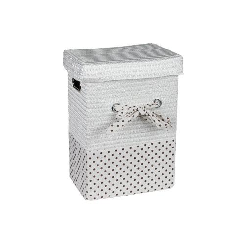 Καλάθι απλύτων με φιόγκο 32Χ22Χ43 εκ. λευκό πουά  36501-01