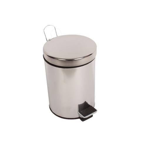 Κάδος μπάνιου ΙΝΟΧ με πεντάλ 5 λίτρα Φ20Χ28,5 εκ.  005