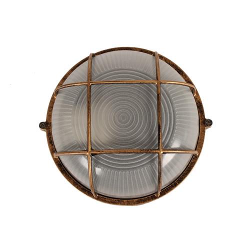 Απλίκα χελώνα εξωτερικού χώρου αλουμινίου με γυαλί Φ17,5Χ8,5 εκ. χρ. μπρονζέ  2605AB