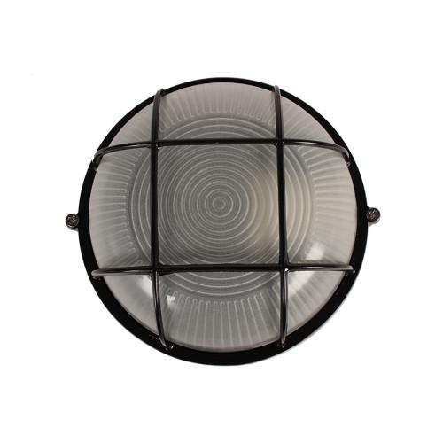 Απλίκα χελώνα εξωτερικού χώρου αλουμινίου με γυαλί Φ17,5Χ8,5 εκ. χρ. μαύρο