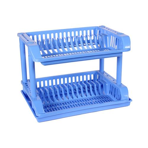 Πιατοθήκη πλαστική διώροφη 49Χ35Χ35 εκ. χρ. Μπλε  5599-2