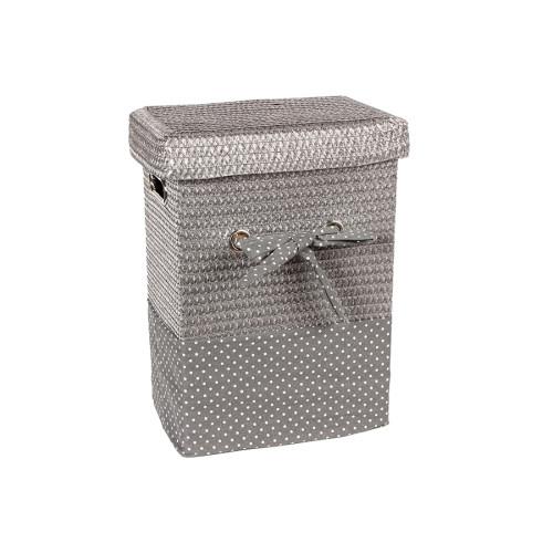 Καλάθι απλύτων με φιόγκο 32Χ22Χ43 εκ. Ασημί – KESKOR 36505-1