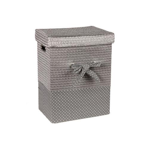 Καλάθι απλύτων με φιόγκο 37Χ27Χ48 εκ. Ασημί – KESKOR 36505-2