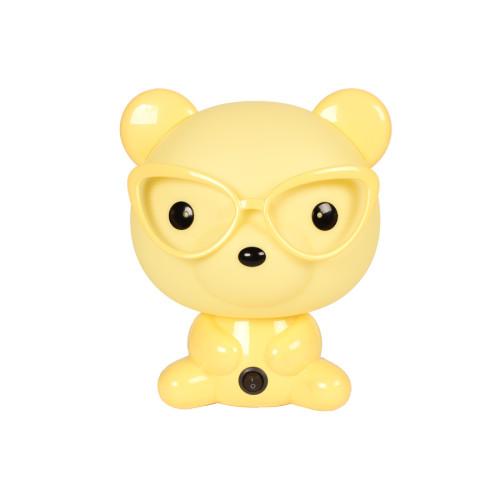 Πορτατίφ παιδικό Ε14 Αρκούδος με γυαλιά κίτρινο  20127-1