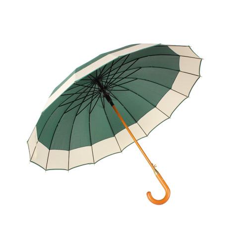 Ομπρέλα βροχής αυτόματη με ξύλινο μπαστούνι και 16 ακτίνες Φ110Χ94 εκ. χρ. σκούρο πράσινο  0066-10