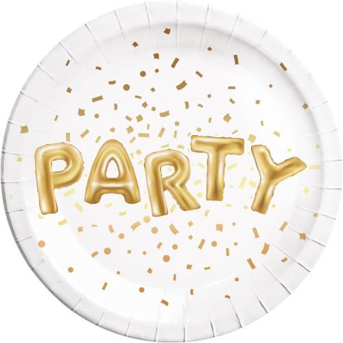 Χάρτινα Πιάτα Gold Party Μεγάλα