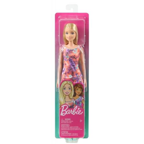 Mattel Barbie Πορτοκαλί φόρεμα με λουλούδια - Ξανθιά κούκλα (GHT24)
