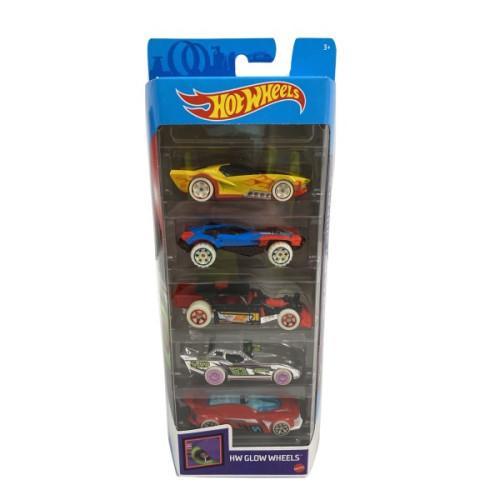 Mattel Hot Wheels - HW Glow Wheels (Set Of 5) (GHP65)