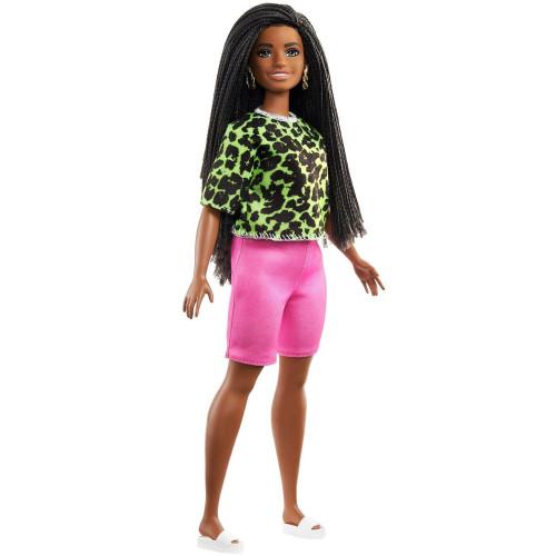Mattel Barbie Doll - Fashionistas #144 - Long Brunette Braids with Neon Green Animal Print Shirt Dark Skin Doll (GYB00)