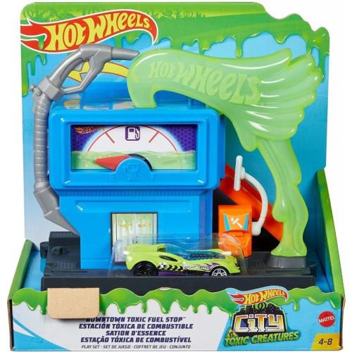 Mattel Hot Wheels City VS Toxic Creatures - Downtown Toxic Fuel Shop (GYP37)