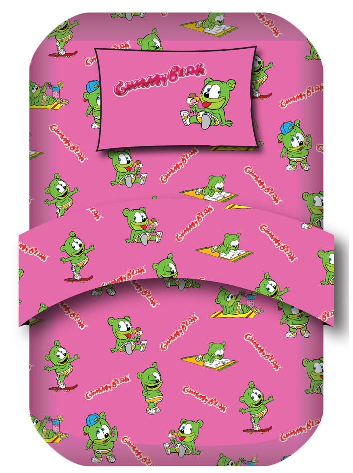Gummy Bear Σετ μονά σεντόνια Gummy Bear Σχ. Holiday Φούξια viops15948