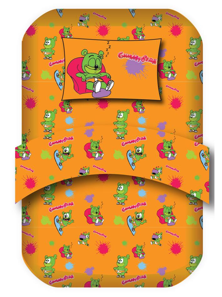 Gummy Bear Σετ μονά σεντόνια Gummy Bear Σχ. Relax Πορτοκαλί viops15940
