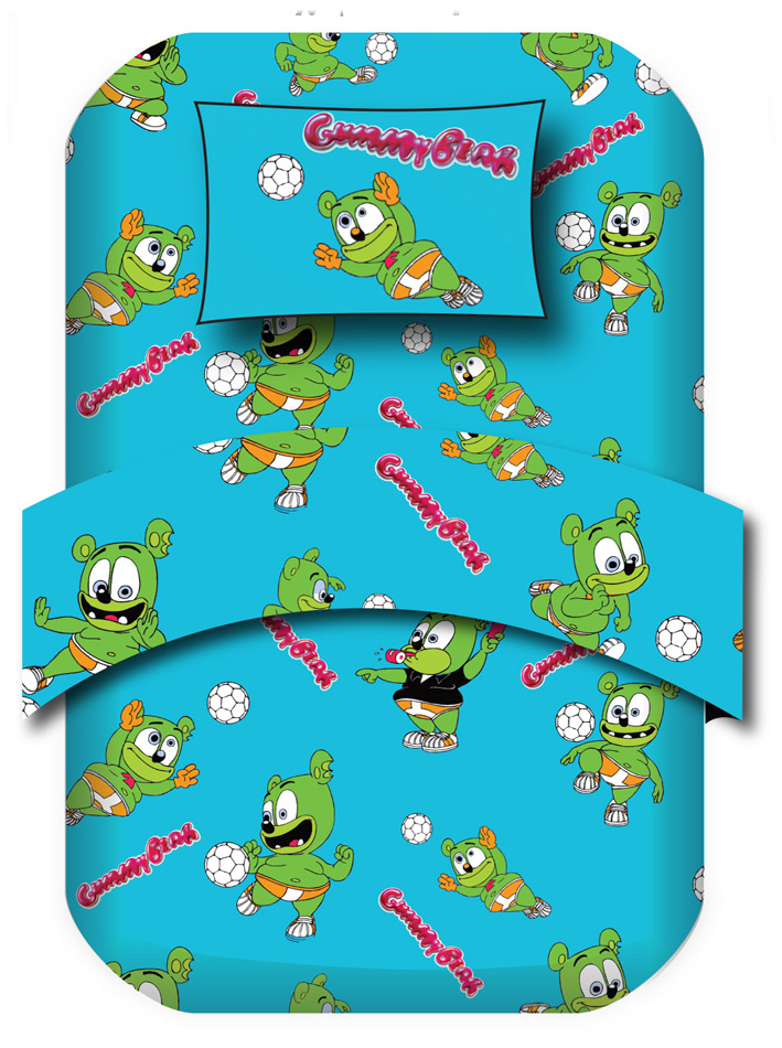 Gummy Bear Σετ μονή παπλωματοθήκη Gummy Bear Σχ. Soccer Γαλάζιο viops15945