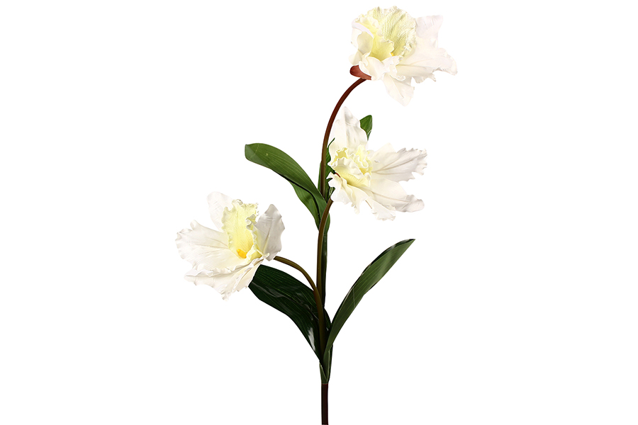 Keskor - Διακοσμητικό λουλούδι με 3 άνθη χρ. λευκό - - - - 3723-3