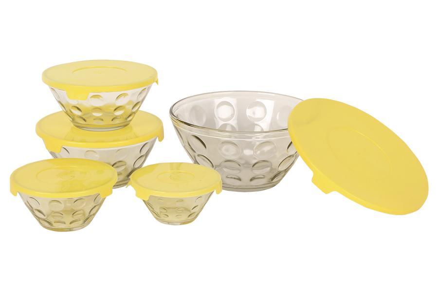 Keskor - Δοχεία φαγητού γυάλινα τεμ. 5 σχ. πουά χρ. κίτρινο - - - - 0202809-2