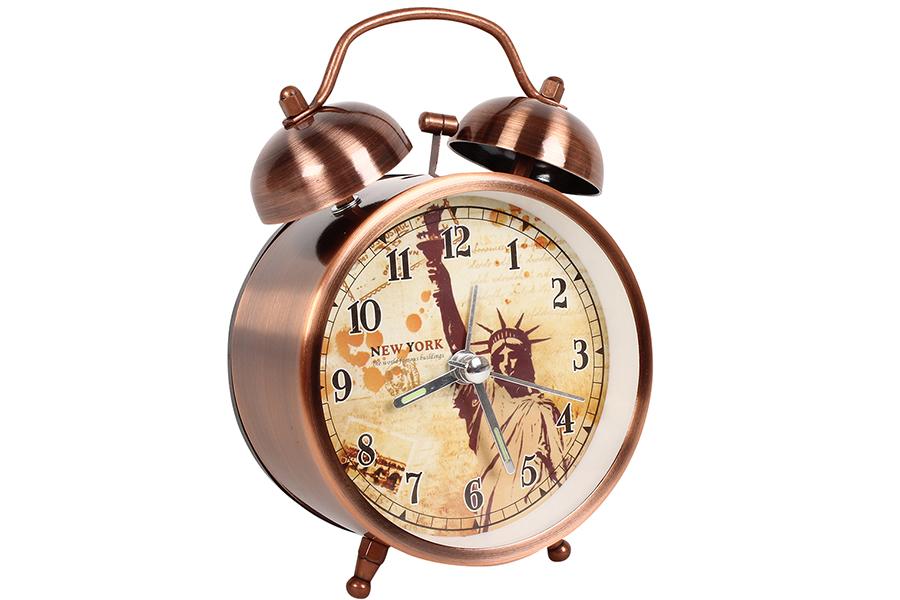 Keskor - Ρολόι ξυπνητήρι μεταλλικό με φως 8,5Χ5Χ12 εκ. χρ. χαλκού σχ. NEW YORK - είδη σπιτιού
