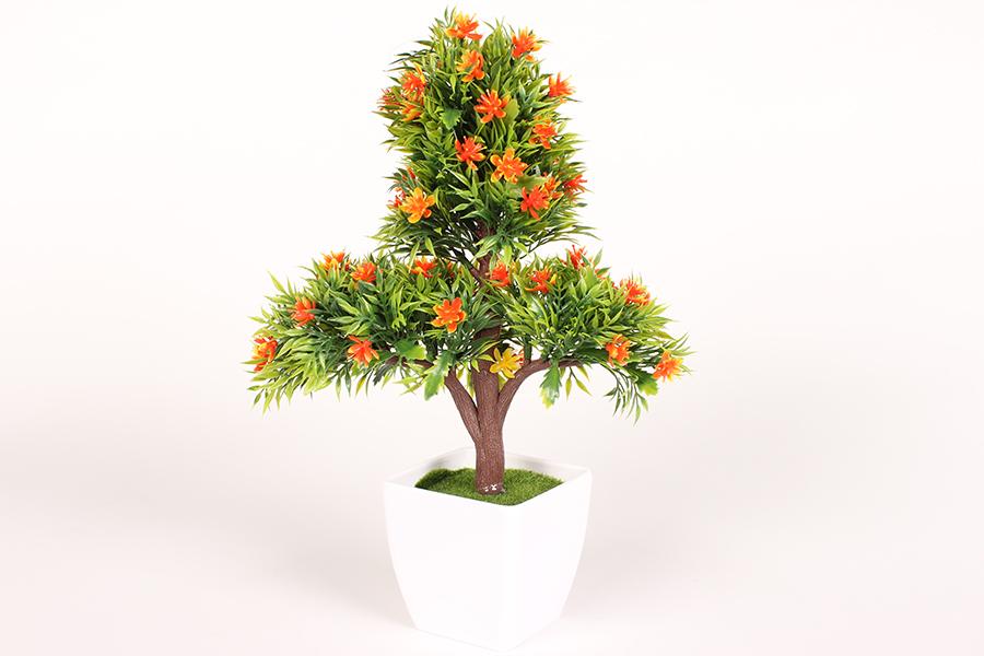 Keskor - Γλαστράκι πλαστικό Μπονζάι 21Χ11Χ30 εκ. με άνθη χρ. πορτοκαλί - - - - 5 είδη σπιτιού   κήπος   λουλούδια διακοσμητικά