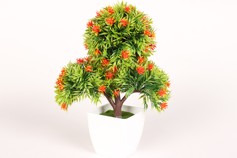 Keskor - Γλαστράκι πλαστικό Μπονζάι 20Χ12Χ26 εκ. με άνθη χρ. πορτοκαλί - - - - 5 είδη σπιτιού   κήπος   λουλούδια διακοσμητικά