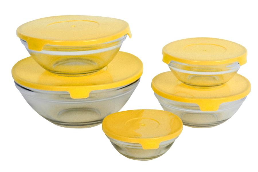 Keskor - Δοχεία φαγητού γυάλινα τεμ. 5 χρ. κίτρινο - - - - 650005-4