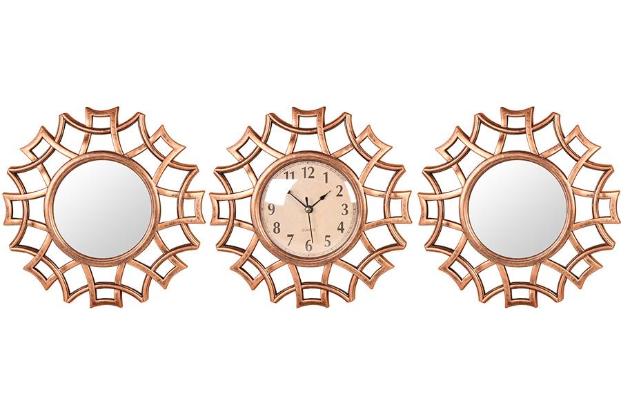 Keskor - Σετ ρολόι τοίχου και 2 καθρέφτες πλαστικοί Φ25 εκ. χαλκός 599301-1 - -  είδη σπιτιού