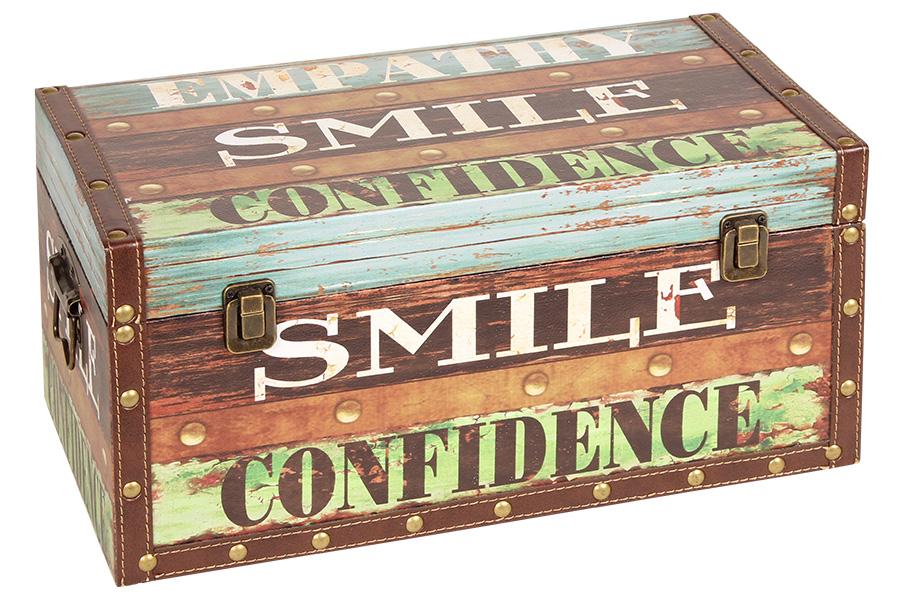 Keskor - Μπαούλο αποθήκευσης ξύλινο με επένδυση PU 42Χ22Χ20 εκ. SMILE 35700-1 -  είδη σπιτιού   έπιπλα   διακόσμηση   μπαούλα   κουτιά