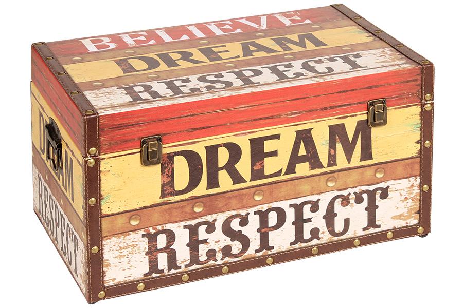 Keskor - Μπαούλο αποθήκευσης ξύλινο με επένδυση PU 48Χ28Χ26 εκ. DREAM 35700-2 -  είδη σπιτιού   έπιπλα   διακόσμηση   μπαούλα   κουτιά