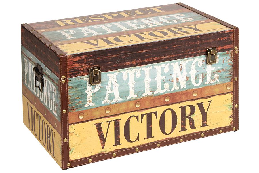 Keskor - Μπαούλο αποθήκευσης ξύλινο με επένδυση PU 54Χ34Χ33 εκ. VICTORY 35700-3  είδη σπιτιού   έπιπλα   διακόσμηση   μπαούλα   κουτιά