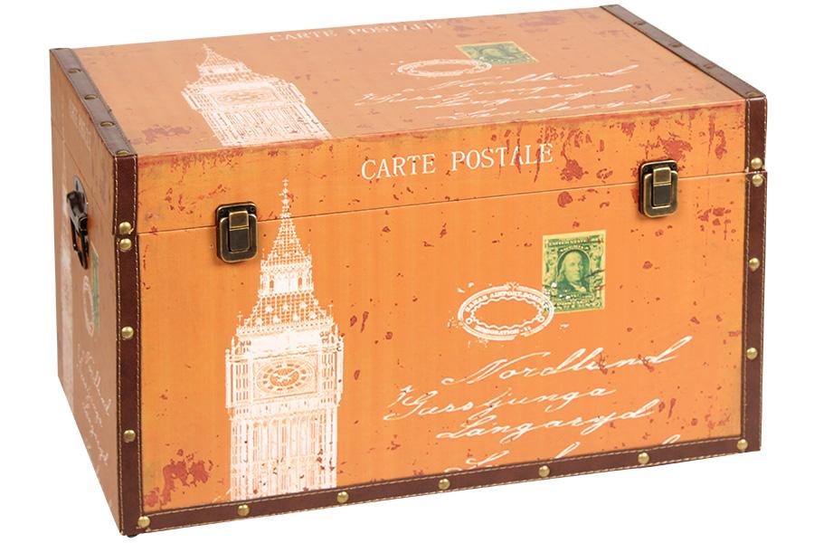 Keskor - Μπαούλο αποθήκευσης ξύλινο με επένδυση PU 54Χ34Χ33 εκ. LONDON 35701-3 - είδη σπιτιού   έπιπλα   διακόσμηση   μπαούλα   κουτιά