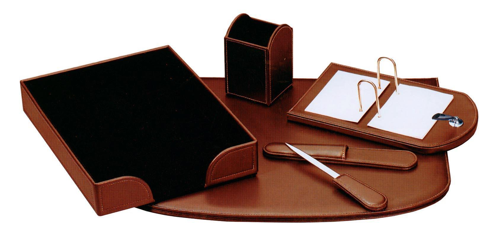 Fineline Fineline σετ γραφείου από συνθετ. δέρμα καφέ 5 τεμάχια 19108-07ΑΜ-2