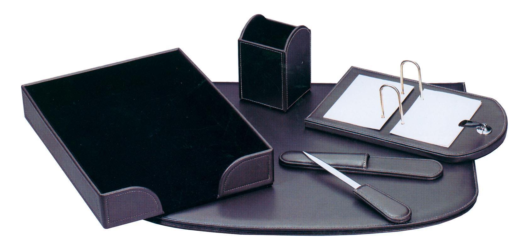 Fineline Fineline σετ γραφείου από συνθετ. δέρμα γκρι-ανθρακί 5 τεμάχια 19108-09ΑΜ-2