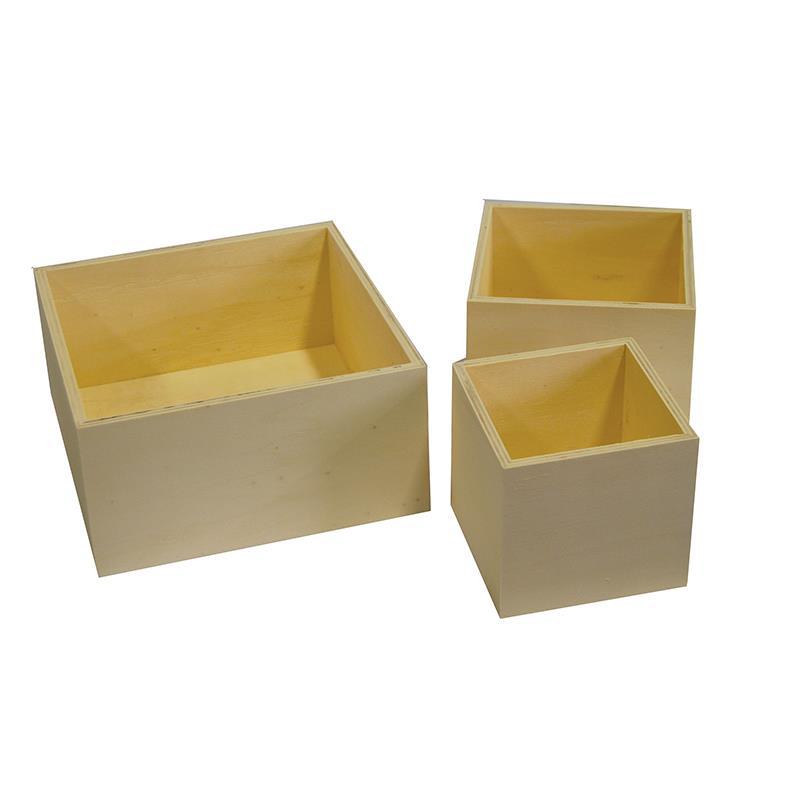 Next Κουτιά ξύλινα τετράγωνα σετ 3τεμαχίων 24181------2 σχολικά   ντεκουπάζ