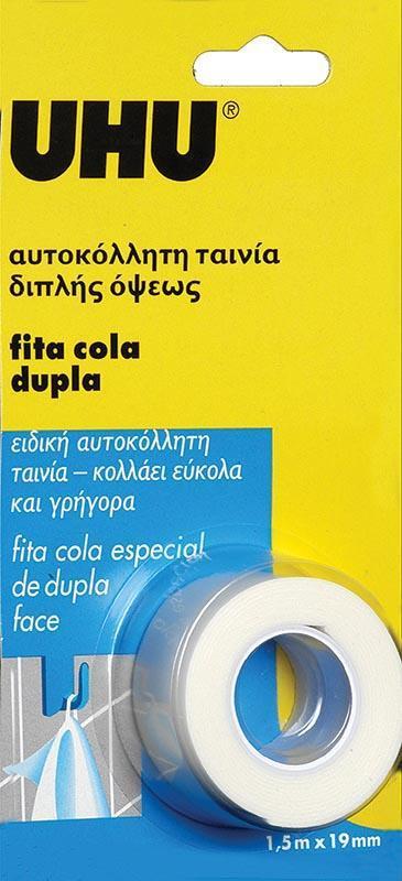 Uhu Uhu ταινία διπλής όψης λευκή douple tape 19 χιλ. x1,5μ. 26044---ΓΖ-2
