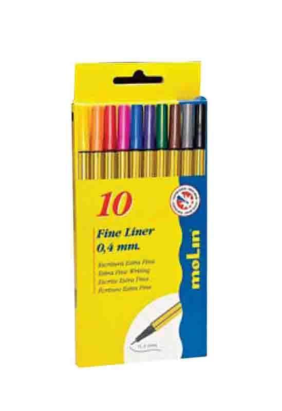 Molin Molin μαρκαδόροι fine liner 10 χρώματα 0,4mm 29841---ΕΔ-2