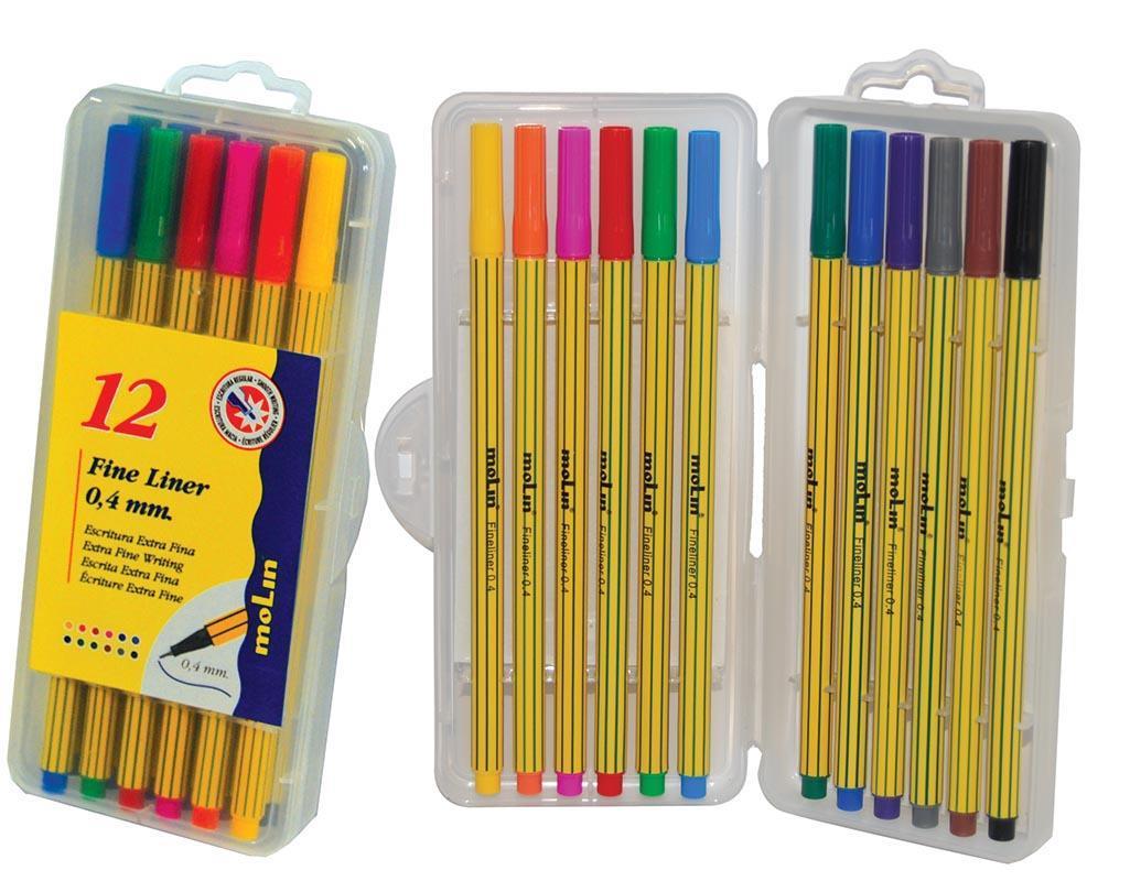 Molin Molin μαρκαδόροι fine liner 12 χρώματα 0,4mm 29842---ΕΔ-2 είδη γραφείου   είδη γραφής   στυλό roller gel