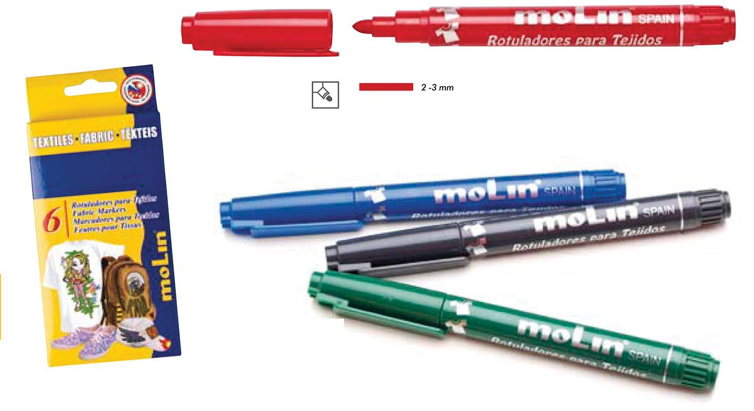 Molin Molin μαρκαδόροι υφασμάτων 5 χρώματα 29850---ΕΔ-2