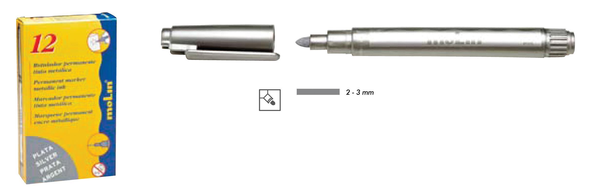 Molin Molin μαρκαδόρος ανεξίτηλος ασημί 2-3mm 29852-17ΕΔ-2