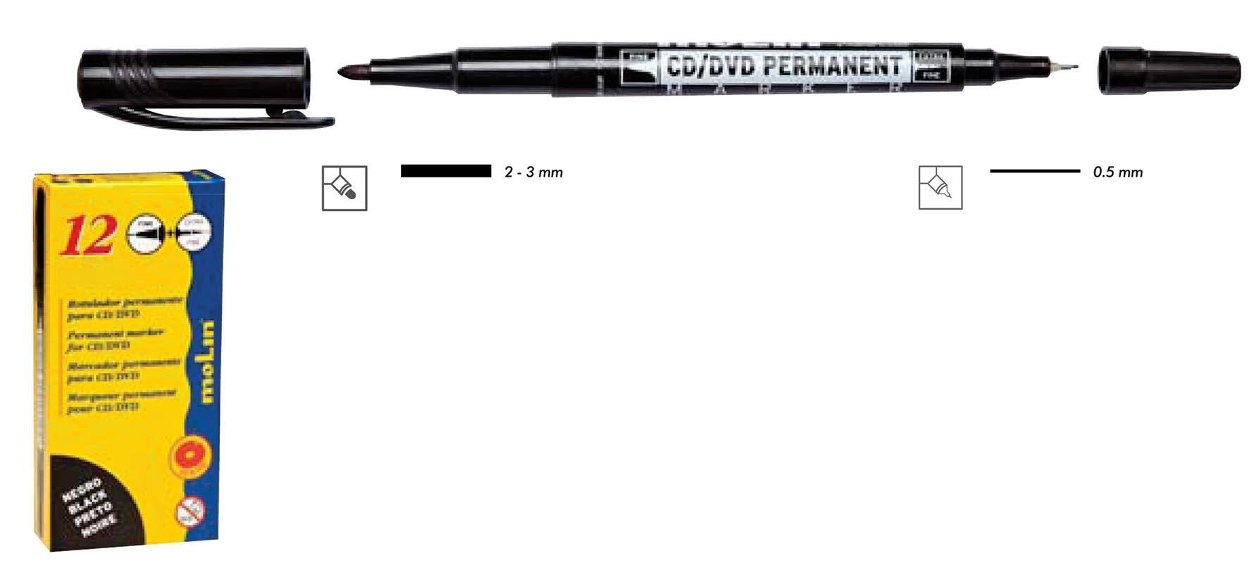 Molin Molin διπλός ανεξίτηλος μαρκαδόρος για cd μαύρο 29853-09ΕΔ-2