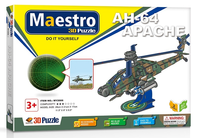 Remoundo 3D ΠΑΖΛ AH-64 Apache 57ΤΜΧ MY2006 6970114322067