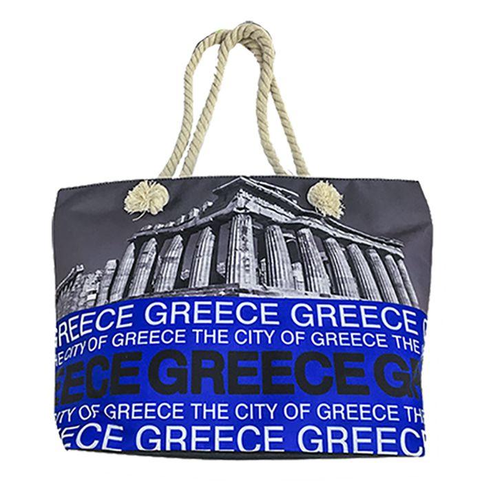 - ΤΣΑΝΤΑ ΠΑΡΑΛΙΑΣ ΣΧΟΙΝΙ GREECE 51x35x16cm - - - - 42-838 καλοκαιρινά   ένδυση παραλίας   τσάντες θαλάσσης